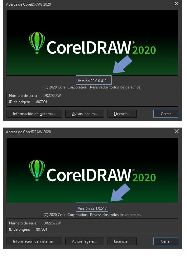 Comprueba el número de versión de tu CorelDRAW