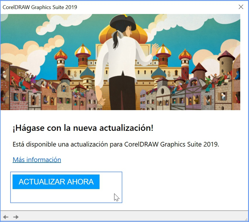 Ventana de aviso para actualizar CorelDRAW 2019