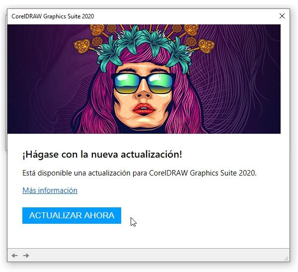 Aviso de actualización disponible para CorelDRAW 2020