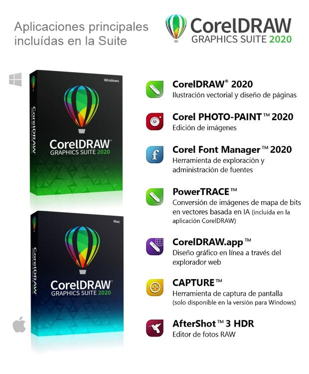 Aplicaciones incluidas en la suite CorelDRAW 2020