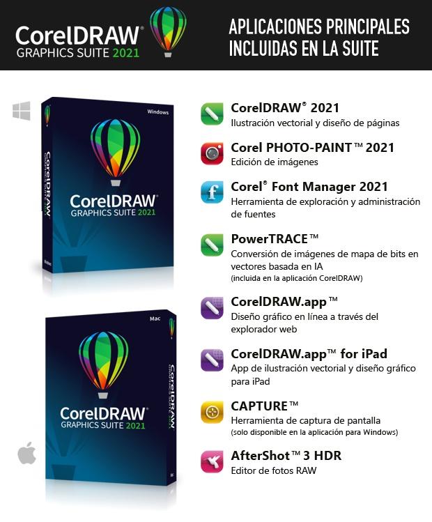 Aplicaciones dentro de la suite CorelDRAW 2021