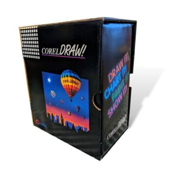 La caja con CorelDRAW 3.0 la primera suite de gráficos