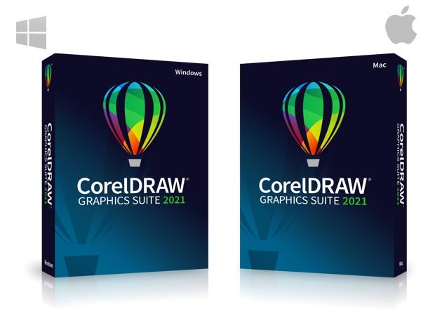 La caja del nuevo CorelDRAW Graphics Suite 2021 Mac y Win