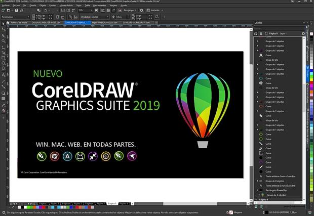 Captura de pantalla del nuevo CorelDRAW 2019