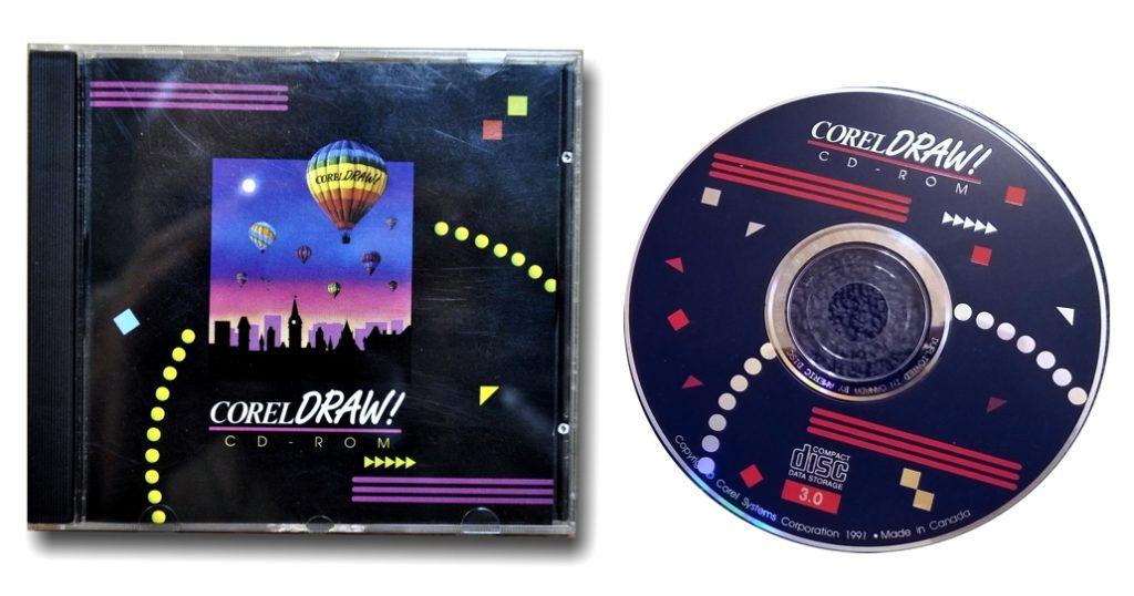 La caja y el CD-ROM con la suite CorelDRAW 3.0 lanzada en el año 1991