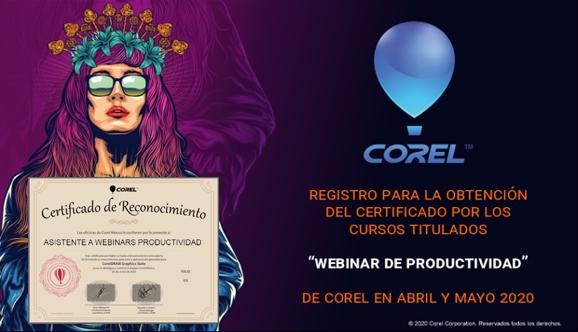 Certificado CorelDRAW por asistencia a webinars Corel Mexico