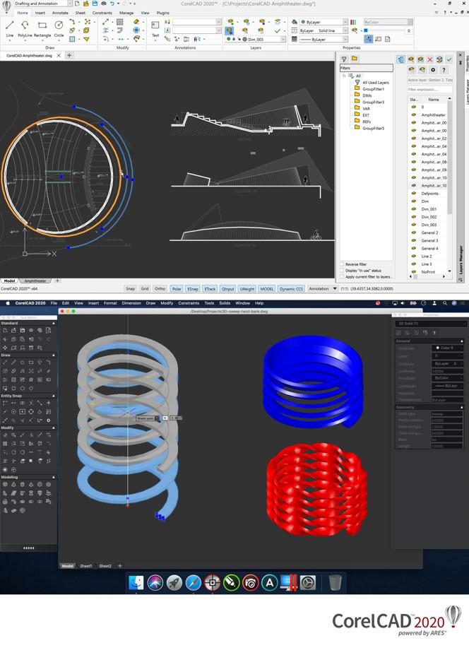 Capturas de pantalla de CorelCAD 2020 Windows y Mac
