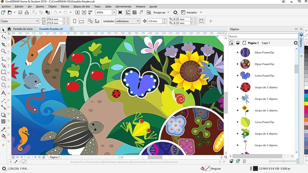 Captura de pantalla CorelDRAW Hogar y Estudiantes