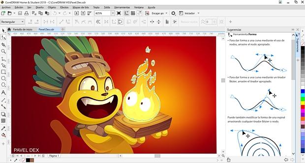Captura de pantalla de CorelDRAW Hogar y Estudiantes 2019