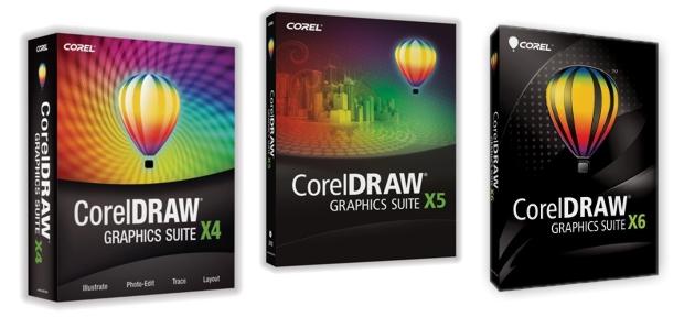 Las cajas de las suites CorelDRAW X4, X5 y X6