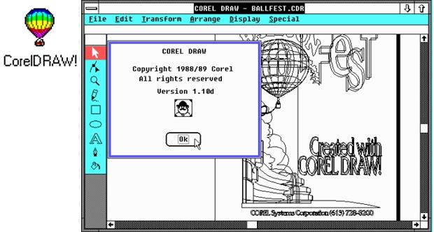 Captura de pantalla de CorelDRAW 1.1 y el icono del programa