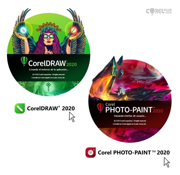 Pantallas de inicio de CorelDRAW 2020 y PHOTO-PAINT 2020