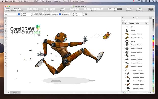 Interfaz de CorelDRAW 2019 para Mac