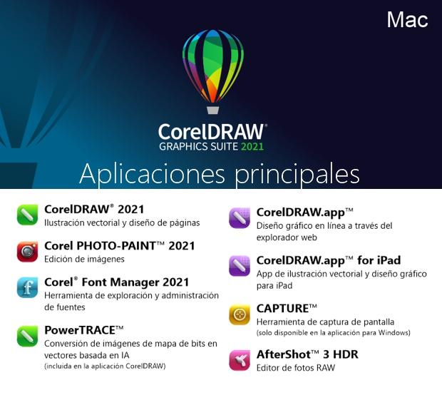 Aplicaciones incluidas en CorelDRAW Graphics Suite para Mac