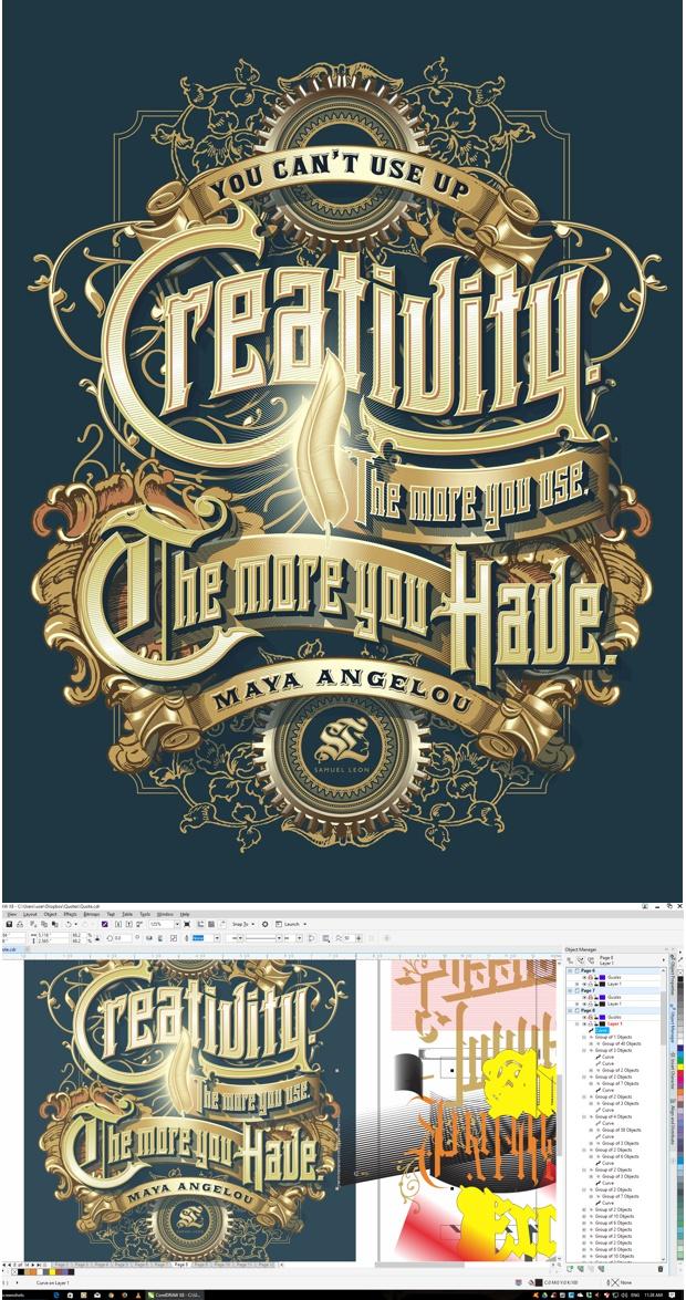Composición tipografica vectorial de Samuel Leon