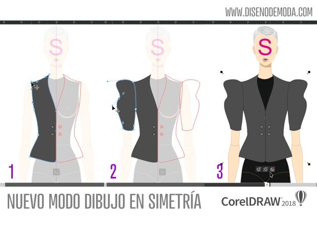 Diseño digital de moda con el modo simetría de CorelDRAW 2018