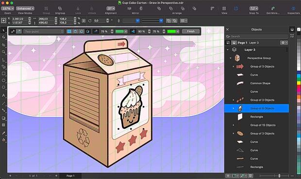 Nuevo dibujo en perspectiva en CorelDRAW Mac