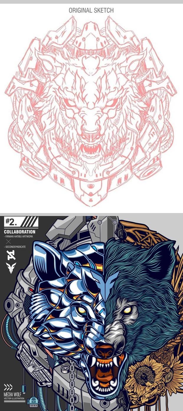 Boceto inicial y el dibujo acabado en CorelDRAW