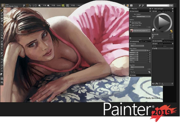 Pantalla de Corel Painter 2019