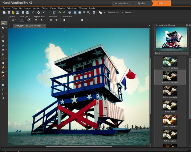 PaintShopPro X9 efectos instantáneos mejorados