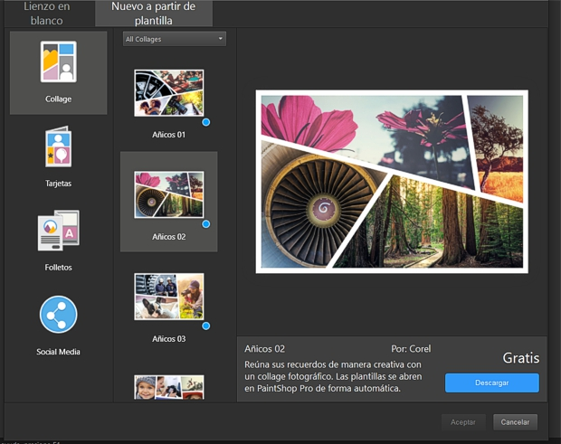 PaintShopProX9 Nuevo a partir de plantilla