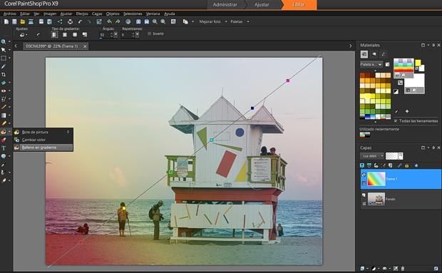 PaintShopProX9 nuevo relleno en gradiente