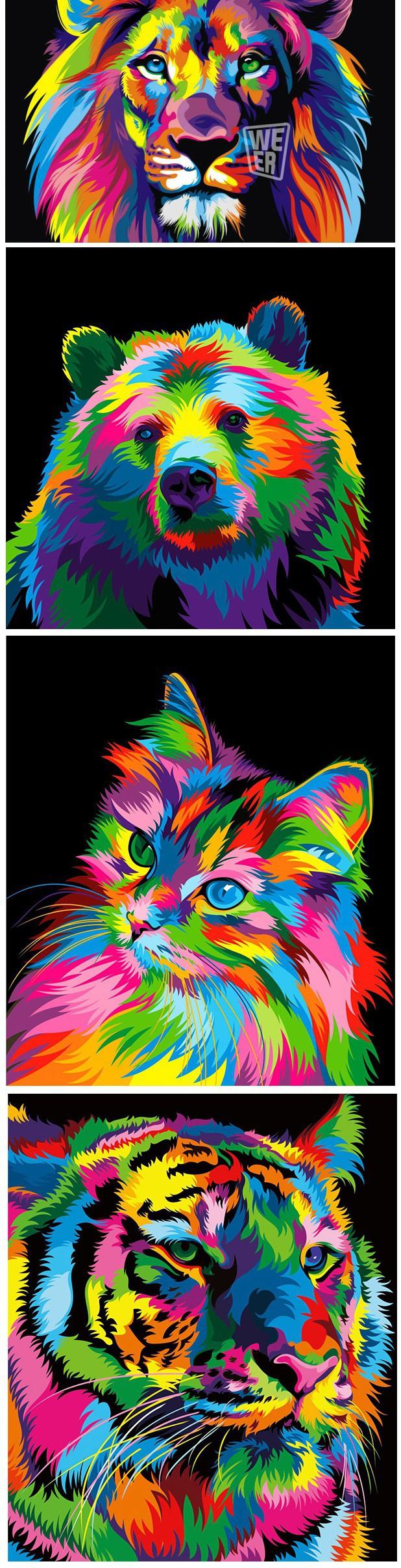 Ilustraciones de animales coloristas, vector-art