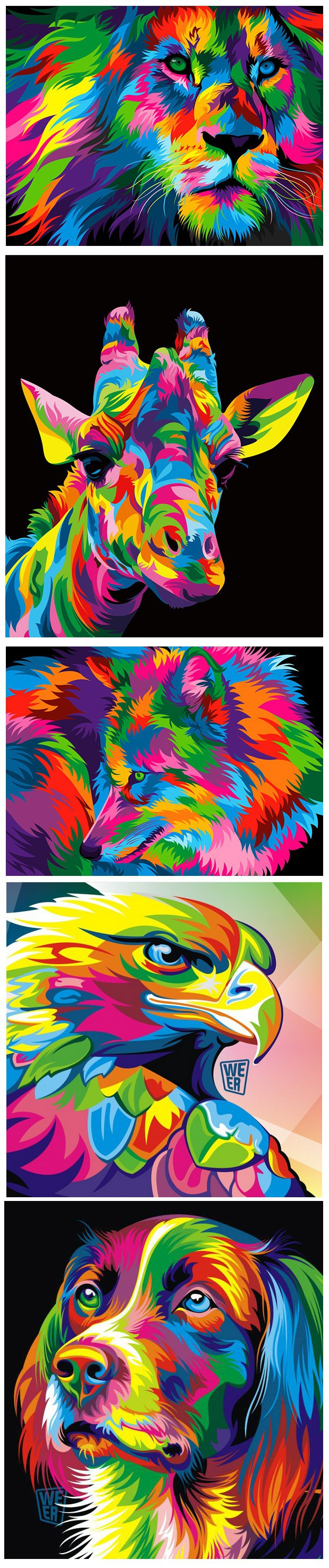 Colorful animal vector illustrations made in CorelDRAW