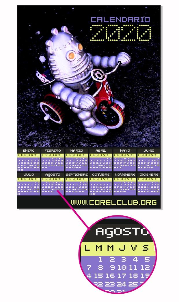 Calendario hecho con CorelDRAW y su macro Calendar Wizard