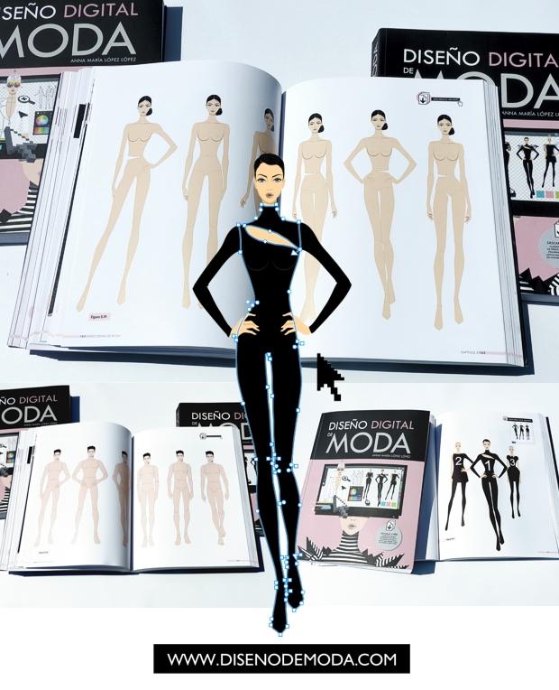 El libro DISEÑO DIGITAL DE MODA incluye la descarga de plantillas de figurines vectoriales de hombre y mujer creados por Eduardo Melia