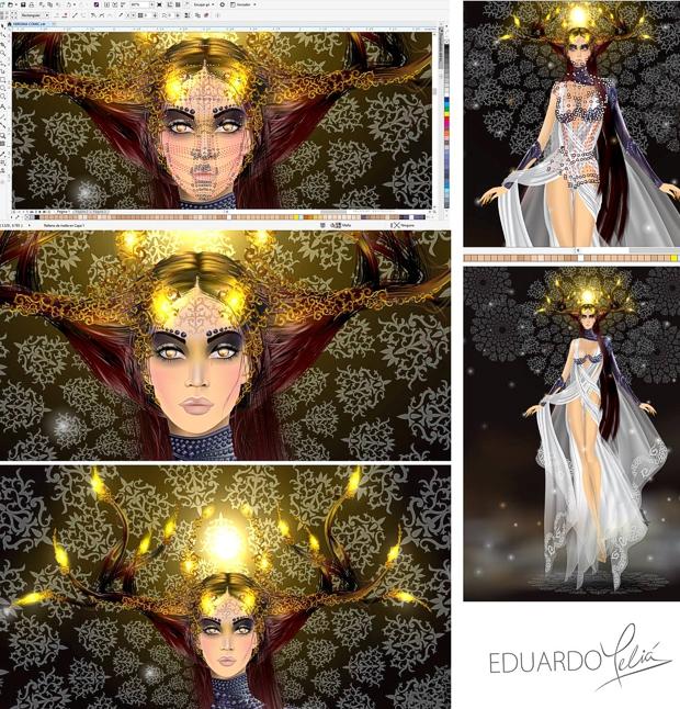 Proceso de creación de una ilustración de moda en CorelDRAW por Eduardo Melia