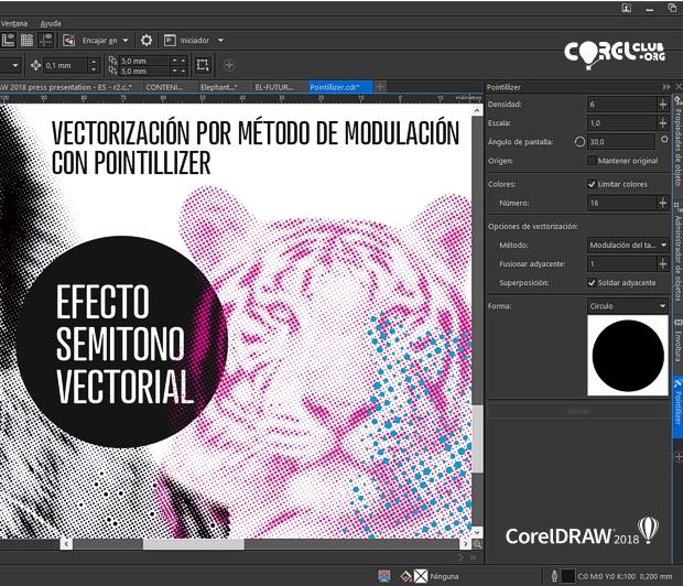 El efecto semitono vectorial creado con Pointillizer en CorelDRAW 2018