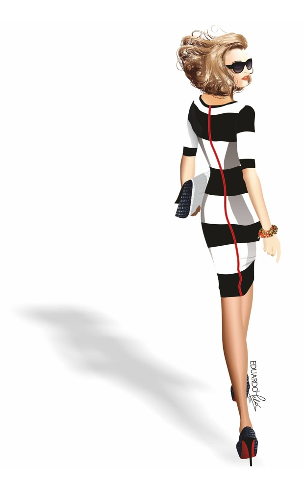 Figurín de moda en formato vectorial de Eduardo Meliá