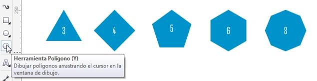 Varios polígonos dibujados con la herramienta Polígono de CorelDRAW