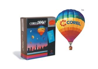 El paquete de CorelDRAW 1.0 junto a su característico imagotipo