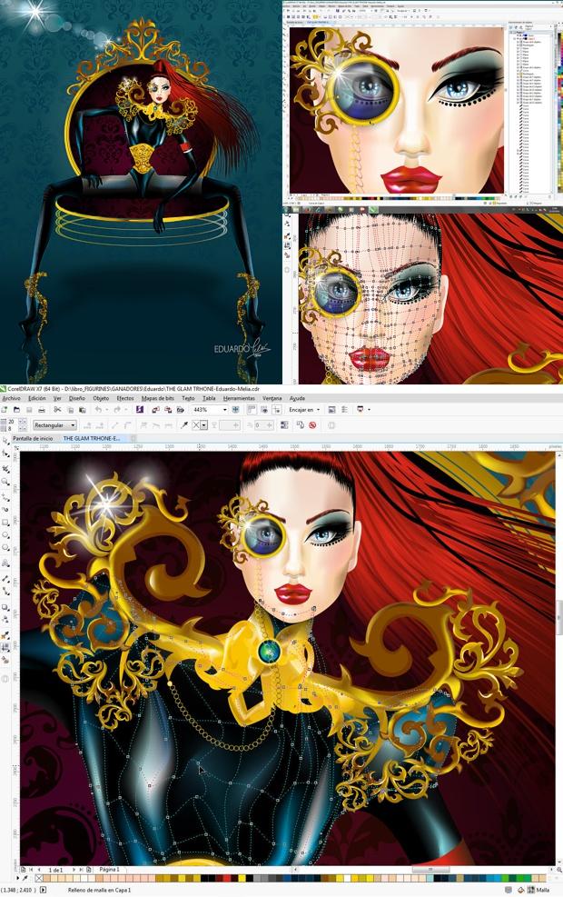 Ilustración de moda creada en CorelDRAW por Eduardo Meliá