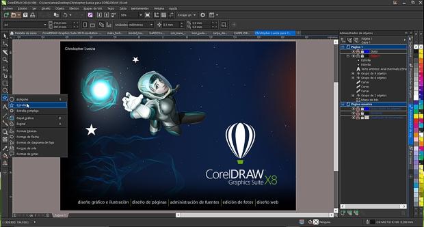 Captura de pantalla de la interfaz oscura de CorelDRAW X8