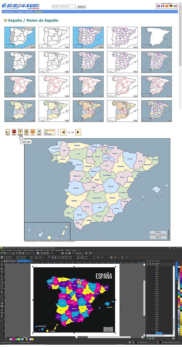 Mapas vectoriales gratis, editados en CorelDRAW