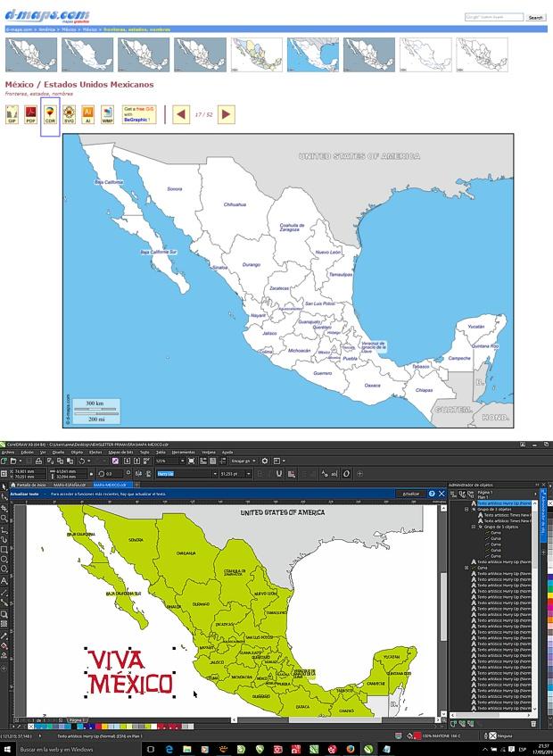 Editando en CorelDRAW el mapa vectorial gratuito