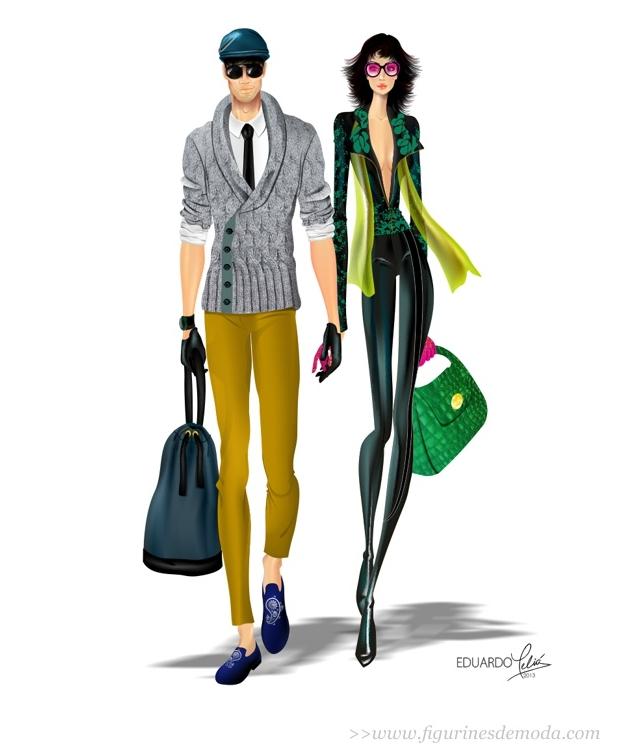 Figurín de hombre y de mujer creados en CorelDRAW por Eduardo Meliá