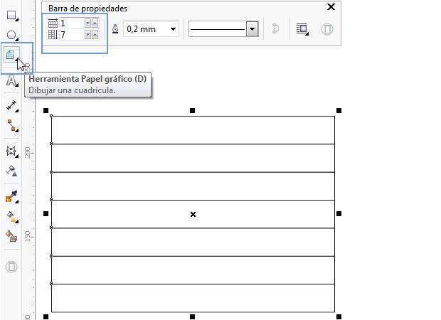 Con la herramienta Papel gráfico se crea la cuadrícula inicial