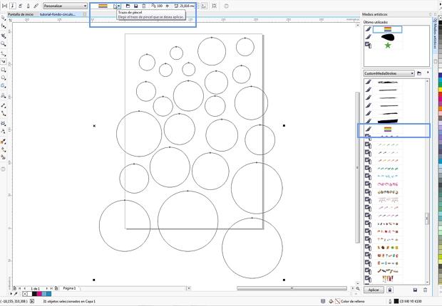 Creando los círculos para aplicarle la pincelada