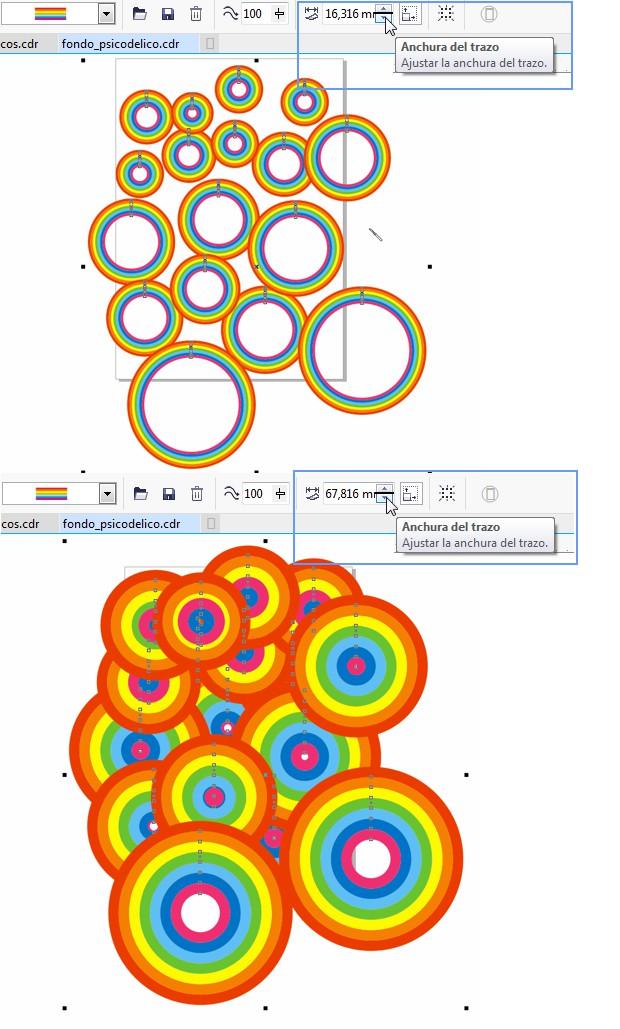 Aplicando la pincelada al grupo de círculos