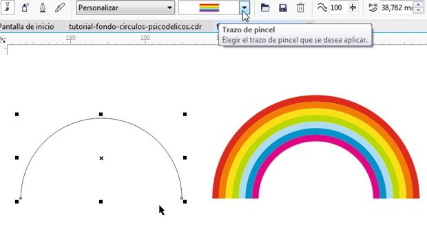 Con su pincelada podrá dibujar fácilmente un arcoiris en CorelDRAW