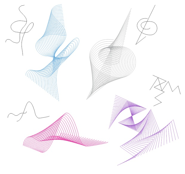 Ejemplos de formas creadas con la herramienta Mezcla de CorelDRAW