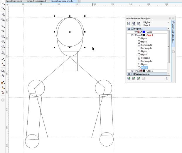 Dibujando con formas básicas el maniquí vectorial