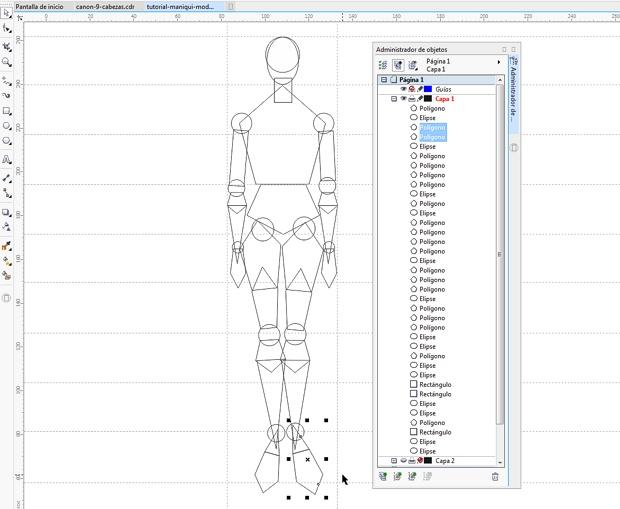 Dibujando todos los objetos del maniquí vectorial