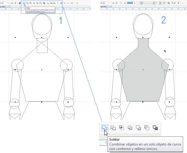 Utilizando la opción Soldar objetos para reducir el número de objetos del maniquí
