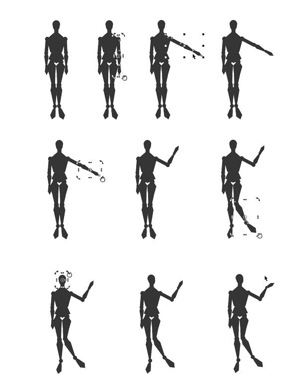 Cambiando la pose al maniquí vectorial en CorelDRAW