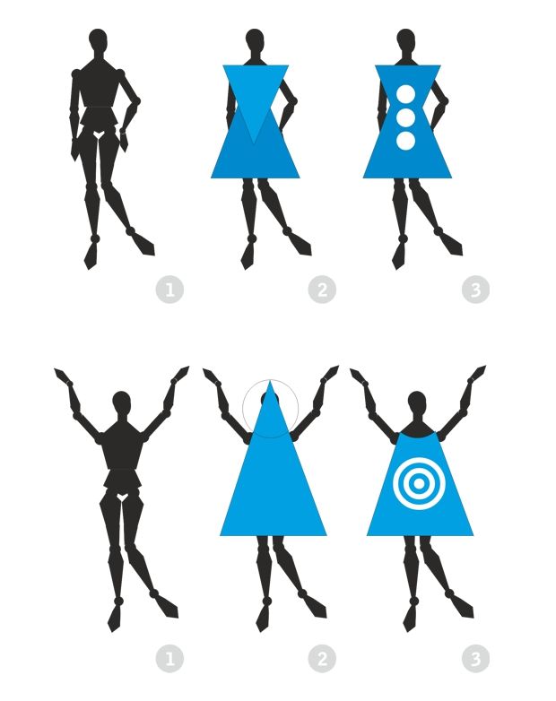 Diseño de moda con formas geométricas básicas en CorelDRAW